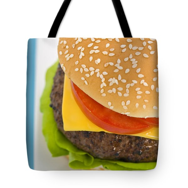 Classic Hamburger With Cheese Tomato And Salad Tote Bag by Ulrich Schade