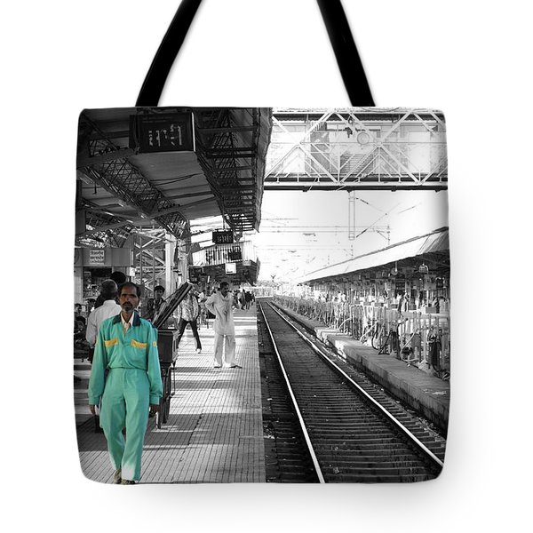 Cleaner At The Train Station Tote Bag by Sumit Mehndiratta