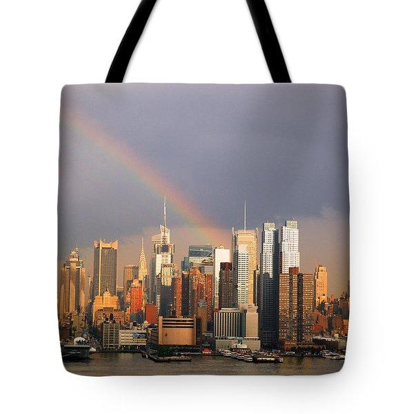 Clearing Skies Over Manhattan Tote Bag by James Kirkikis