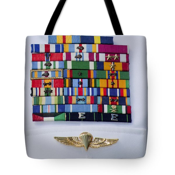 Close-up View Of Military Decorations Tote Bag by Michael Wood