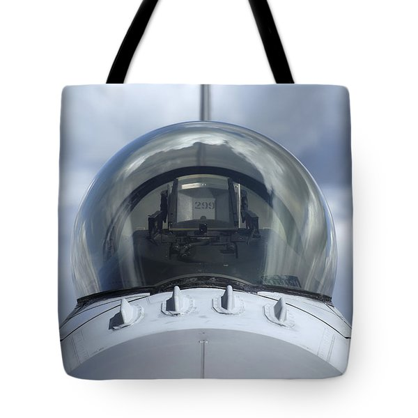 Close-up View Of The Canopy On A F-16a Tote Bag by Ramon Van Opdorp