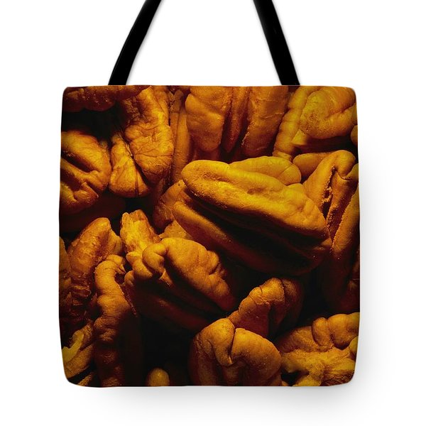 Close View Of Shelled Pecans In Warm Tote Bag