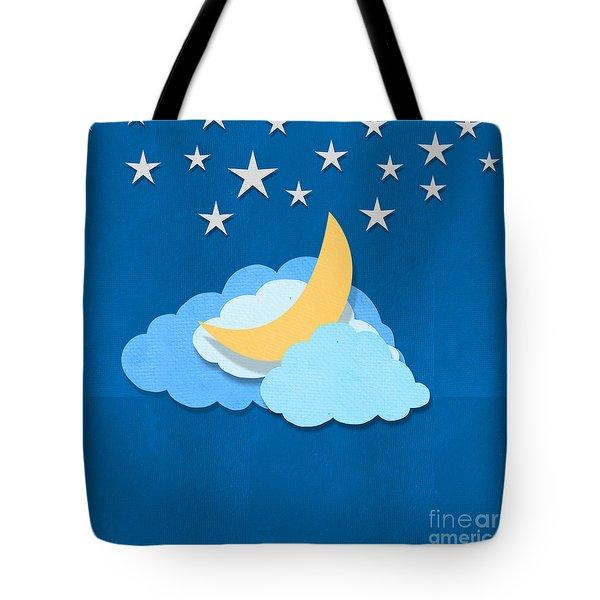 Cloud Moon And Stars Design Tote Bag by Setsiri Silapasuwanchai