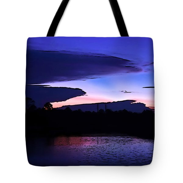 Tote Bag featuring the photograph Clouded Sunset Over The Tomoka by DigiArt Diaries by Vicky B Fuller