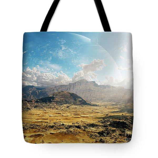 Clouds Break Over A Desert On Matsya Tote Bag by Brian Christensen