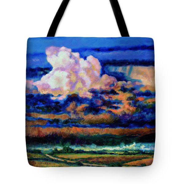 Clouds Over Country Road Tote Bag by John Lautermilch