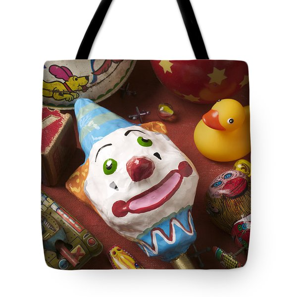 Clown Rattle And Old Toys Tote Bag