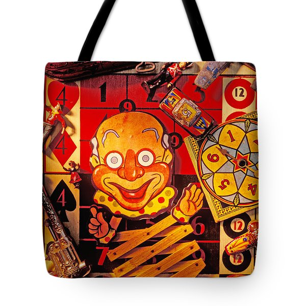 Clown Toy And Old Playthings Tote Bag by Garry Gay