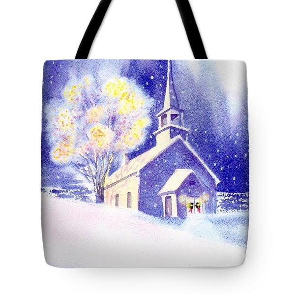 Coastal Church Christmas Tote Bag by Joseph Gallant