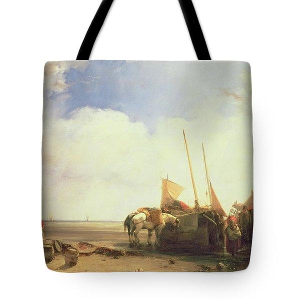 Coastal Scene In Picardy Tote Bag by Richard Parkes Bonington