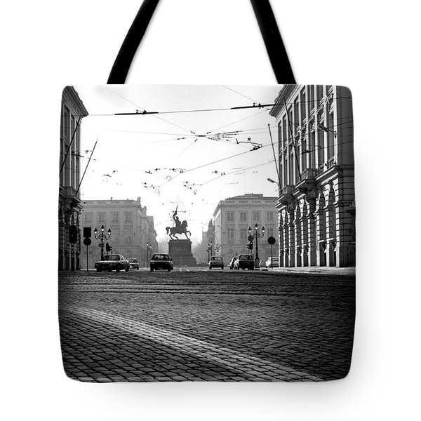 Cobble Stone Streets In Old Brussels Tote Bag by Peter Mooyman