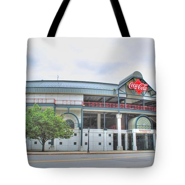 Tote Bag featuring the photograph Coca Cola Field  by Michael Frank Jr