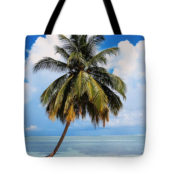 Coconut Palm Tree On The Beach.maldives Tote Bag by Jenny Rainbow
