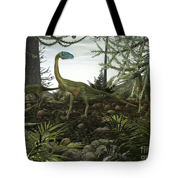Coelophysis Dinosaurs Walk Amongst Tote Bag by Walter Myers