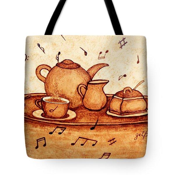 Coffee Break 2 Coffee Painting Tote Bag by Georgeta  Blanaru