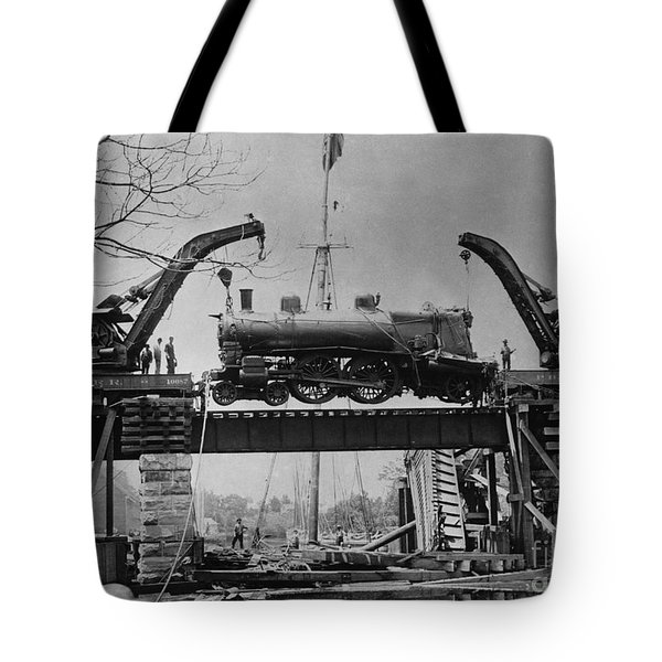 Collapsed Bridge And Train Recovery Tote Bag by M E Warren and Photo Researchers
