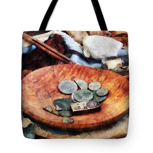 Colonial Coins Tote Bag by Susan Savad