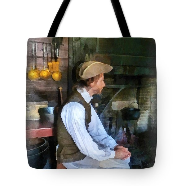 Colonial Man In Kitchen Tote Bag by Susan Savad