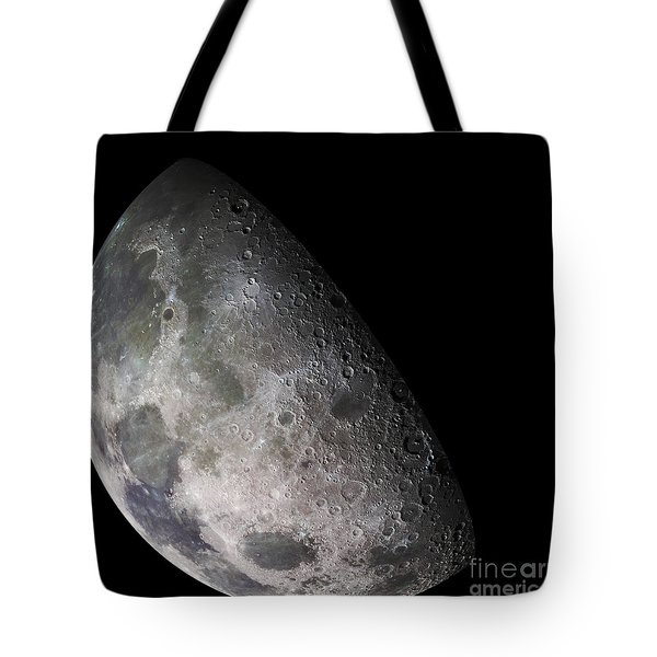 Color Mosaic Of The Earths Moon Tote Bag by Stocktrek Images