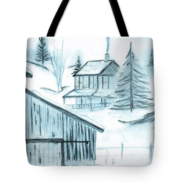 Tote Bag featuring the drawing Colorado Farm by Shannon Harrington