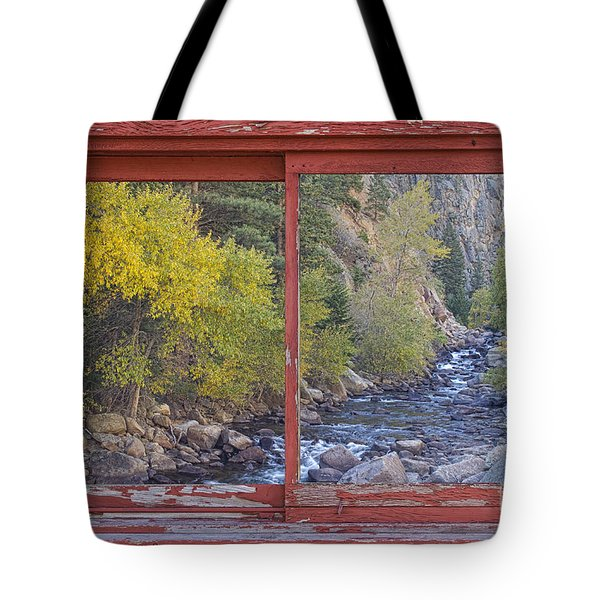 Colorado St Vrain Canyon Red Rustic Picture Window Frame Photos  Tote Bag by James BO  Insogna