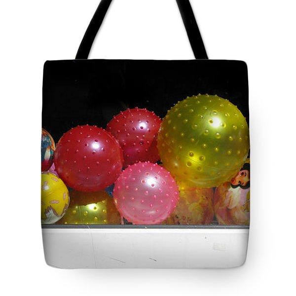 Colorful Balls In The Shop Window Tote Bag by Ausra Huntington nee Paulauskaite