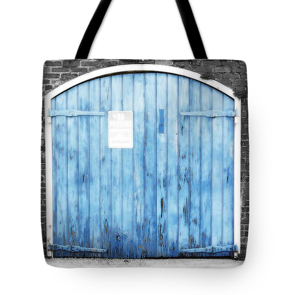 Colorful Blue Garage Door French Quarter New Orleans Color Splash Black And White And Diffuse Glow Tote Bag