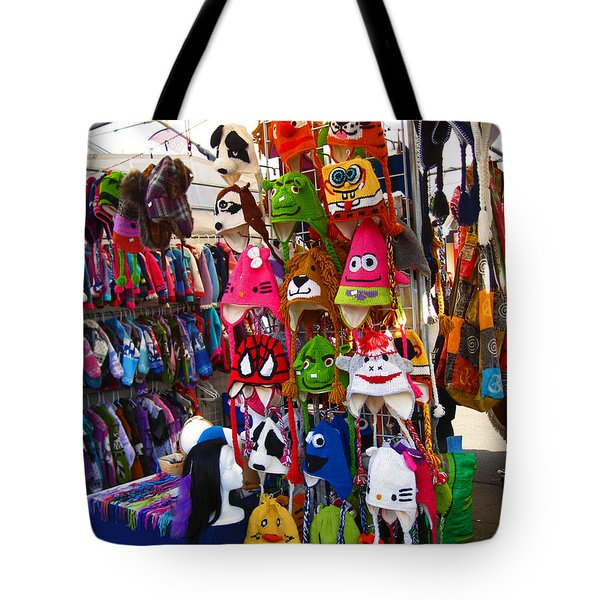 Colorful Character Hats Tote Bag by Kym Backland