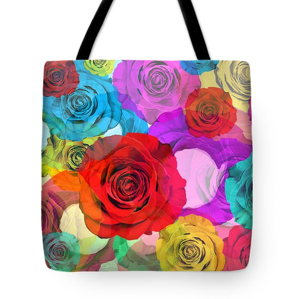 Colorful Floral Design  Tote Bag by Setsiri Silapasuwanchai
