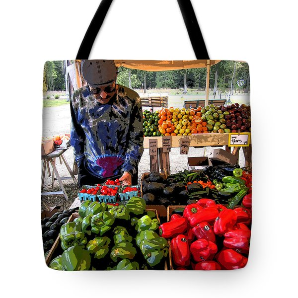 Colorful Fruit And Veggie Stand Tote Bag by Kym Backland
