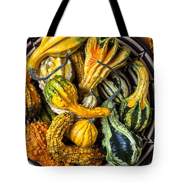 Colorful Gourds In Basket Tote Bag by Garry Gay