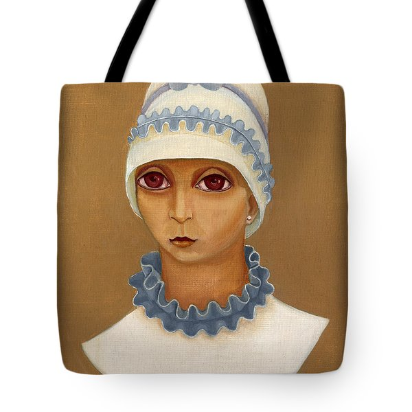 Colorful Young Woman Brown Eyes Blue White Hat Collar  With Ribbon Small Lips Tote Bag by Rachel Hershkovitz