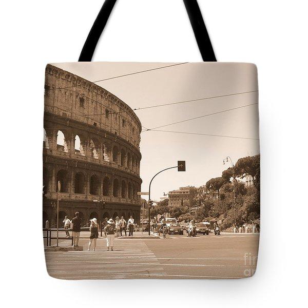 Colosseum In Sepia Tote Bag