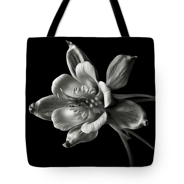 Tote Bag featuring the photograph Columbine In Black And White by Endre Balogh