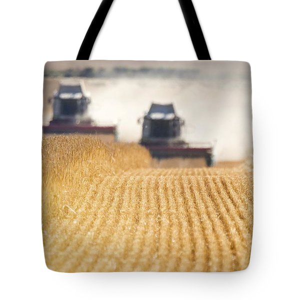 Combines Harvesting Field, North Tote Bag by John Short