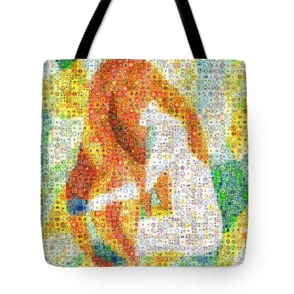 Combing The Waves Mosaic Tote Bag by Paula Ayers