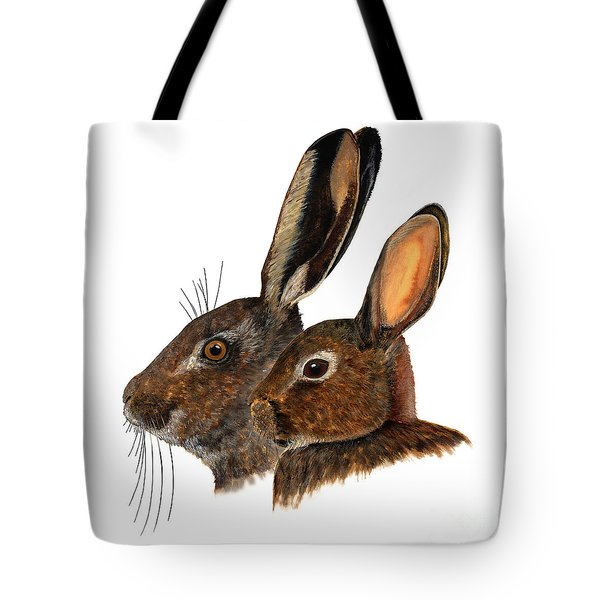 Comparison Hare Rabbit Ears - Oryctolagus Cuniculus - Genus Lepus - Vergleich Hase Kaninchen Ohren Tote Bag