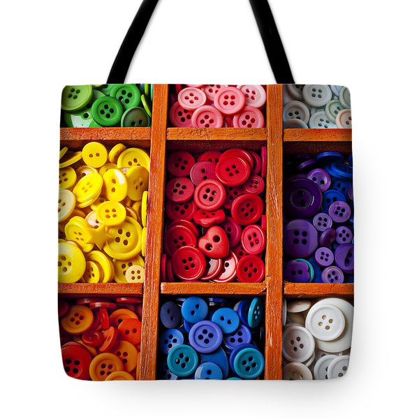 Compartments Full Of Buttons Tote Bag by Garry Gay