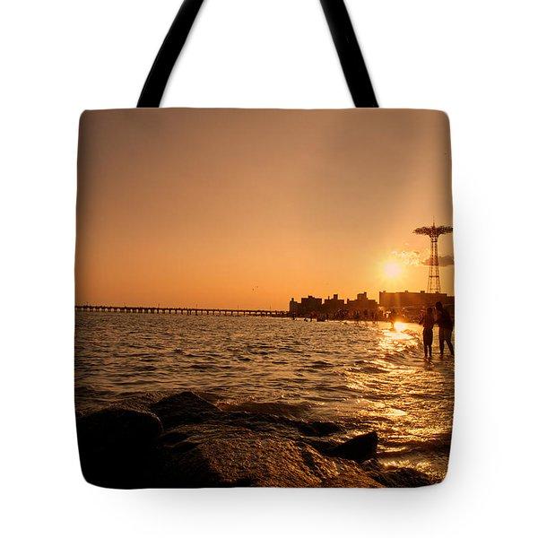 Coney Island Beach Sunset - New York City Tote Bag by Vivienne Gucwa