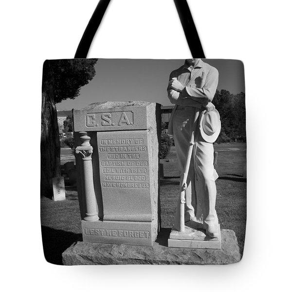 Confederate Soldier Memorial Tote Bag by Kathy Clark