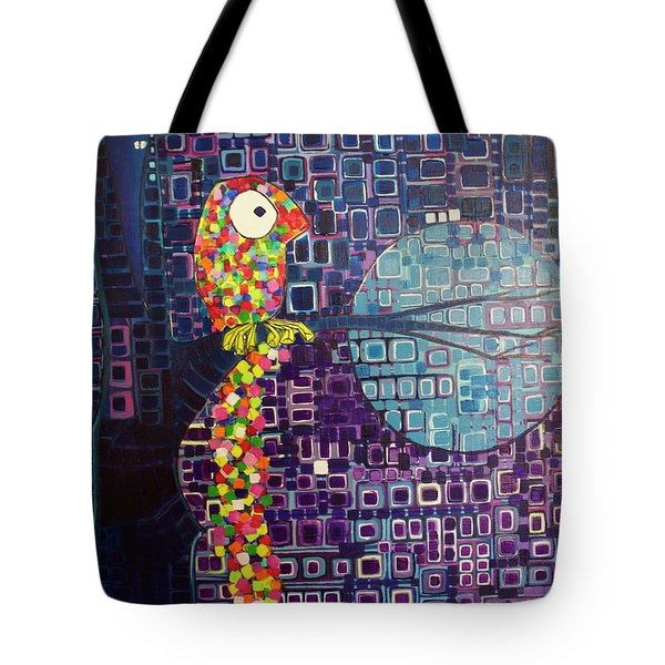 Tote Bag featuring the painting Confetti Bird by Donna Howard
