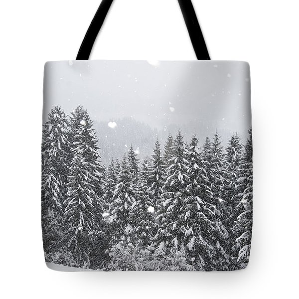 Coniferous Forest In Winter, Alps Tote Bag by Konrad Wothe