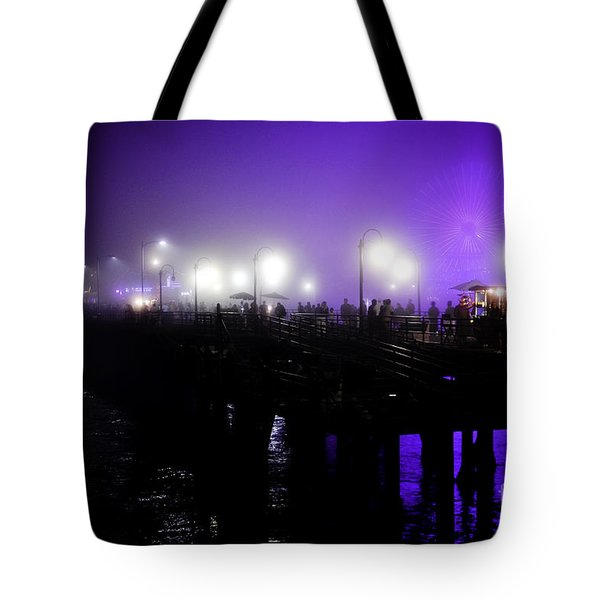 Tote Bag featuring the photograph Cool Night At Santa Monica Pier by Clayton Bruster