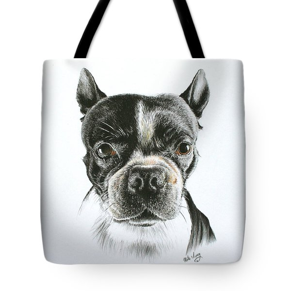 Tote Bag featuring the drawing Cooper by Mike Ivey