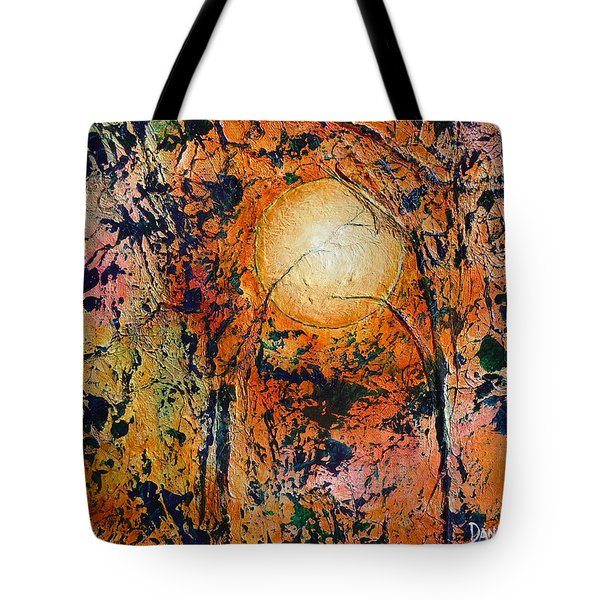 Tote Bag featuring the painting Copper Moon by Dan Whittemore