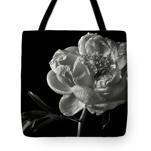 Tote Bag featuring the photograph Coral Peony In Black And White by Endre Balogh