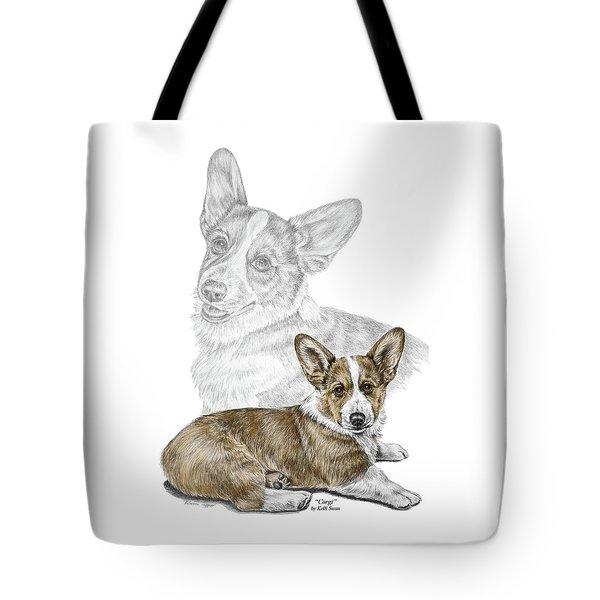 Corgi Dog Art Print Color Tinted Tote Bag