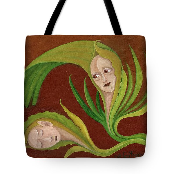 Corn Love Fantastic Realism Faces In Green Corn Leaves Sleeping Or Dead Loving Or Mourning Gree Tote Bag by Rachel Hershkovitz