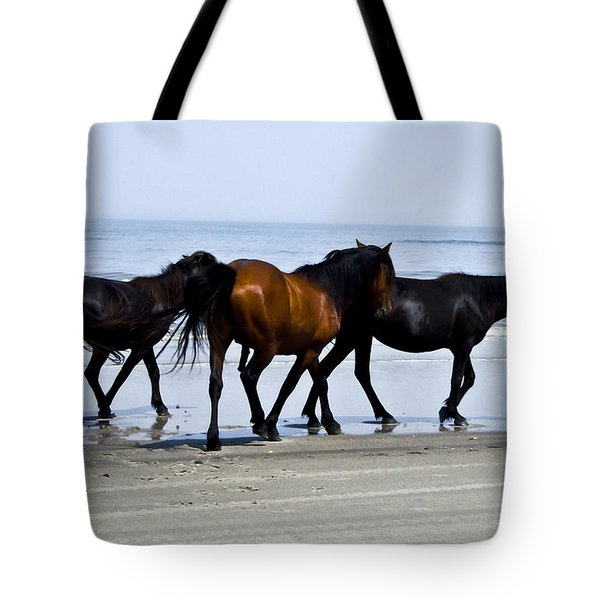 Corolla Beach Horses Tote Bag