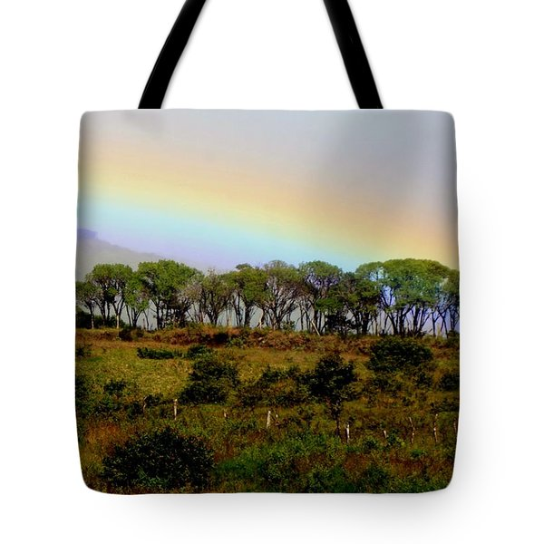 Tote Bag featuring the photograph Costa Rica Rainbow by Myrna Bradshaw